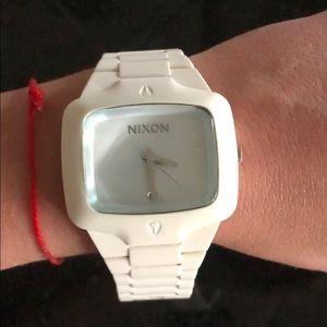 Unisex white Nixon rubber watch